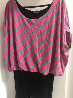 Dees pink strip top size 10