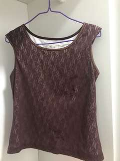 Melani Italian red lace top size 10