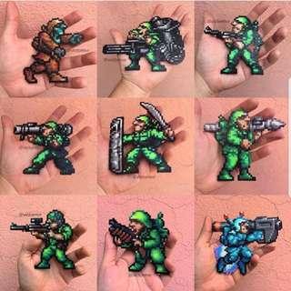 Hama beads design  Rebel soldiers zombies mutants mummies from metal slug gaming characters