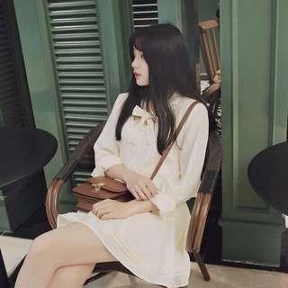 日牌OL通勤氣質雜誌推薦款洋裝襯衫絲巾蝴蝶結連身裙snidel2017新品