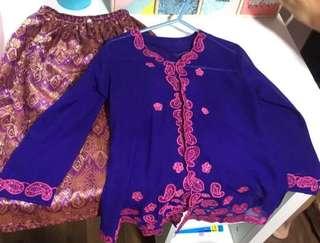 Baju Kurung Kebaya Nonya Malay Dressing Clothes Costume for girls