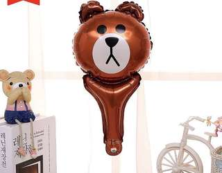 B18 Happy birthday foil balloon line brown bear handheld