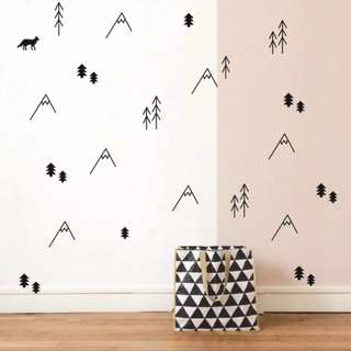 Nordic ins children's room custom simple lines small mountain wall sticker living room bedroom sticker/Home Decor 🔘Size Height 13.3-3.5cm Assort Qty: 38 pcs=$25