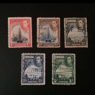 Stamp - Bermuda 1938 - King George VI  (1D one is Mint, the rest are used)