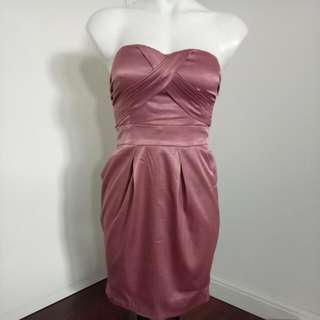 Rusty Pink Short Bootube Formal / Wedding / Cocktail Dress With Pockets
