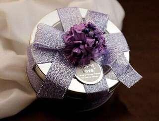 MAR PROMO $1 Elegant Purple Ribbon Decorated Candy Tin (Empty)