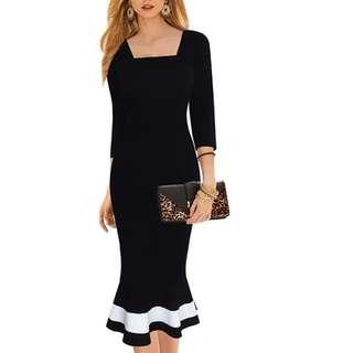 INSTOCK Milady Wriggle Contrast Fish Tail Hem Dress