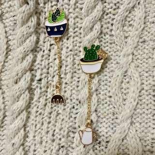 Succulent & Cacti Chain Enamel Pin