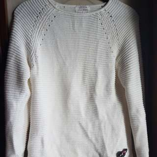 ZARA KNITTED BUTTERFLY PATCHWORK SWEATER, WHITE Size13-14yrs