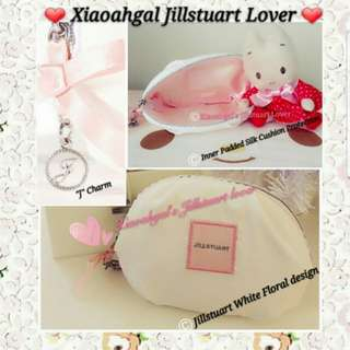 "🔴50%➡️ FOLLOWERS ONLY!🔴🌷RARE LIMITED EDITION🌷🐰BRAND NEW🐰 AUTHENTIC Jill Stuart White Floral Relax ""J"" Pink ribbon Charm + Inner padded Silk Pouch/Wallet/card holder/accessory/makeup comestics (Light handy gift)💋No Pet No Smoker Clean Hse💋"