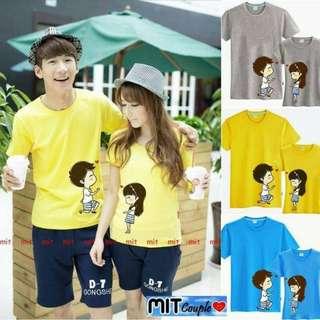 Kaos Couple / Baju Couple / Kaos Pasangan Say Love You (abu,kuning,biru)