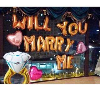 "Wedding Proposal Balloon Set – Will You Marry Me Wordings with 38"" Giant Diamond Ring"