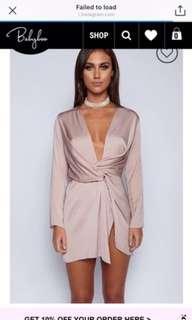 Blush Satin Shirt Dress
