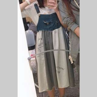 🚚 灰白拼接牛仔吊帶裙 柴田紗希同款吊帶裙
