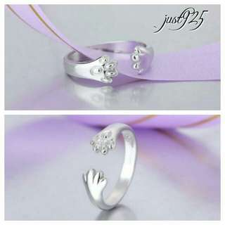 S925 Sterling Silver Cat Kitty Paw Ring