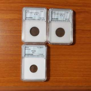 Straits Settlement & Sarawak Half Cent Copper Coins