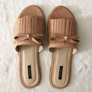 Zalora Fringed Sliders Nude (EUR 41)