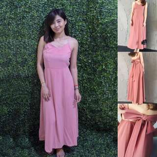 Ribbon sexy pink dress