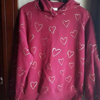 ZARA KIDS GOLD GLITTER HEARTS HOODIE SWEATER, MAROON 13-14yrs