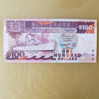 $100 Ship Z replacement notes  Z/1 002025