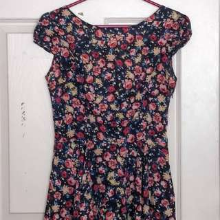 Zara Open-back Floral Dress (size M)