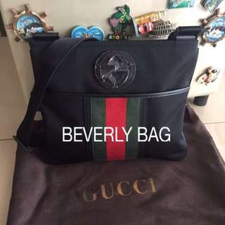 jual tas Gucci Slingbag Logo LEATHER MIRROR - black