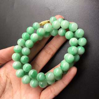 8.8-9.4mm x 62 Beads green Floral Jadeite necklace