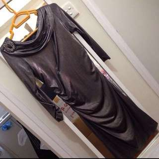 David Meister Metallic fitted silk jersey dress