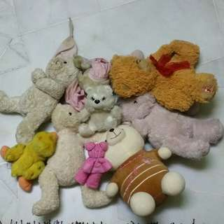 Bundle soft toys -teddy and others