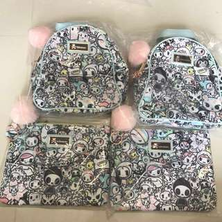Tokidoki pastel pop mini backpack and clutch
