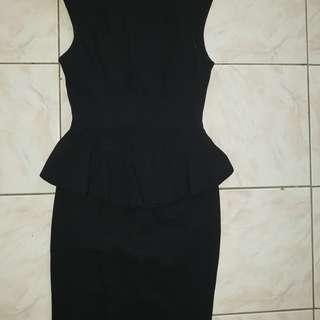 CUE Peplum Dress Black Size 10