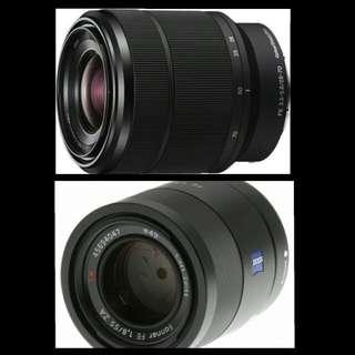 sony 55mm f1.8 & 28-70mm kit lens