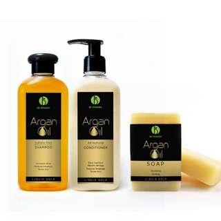 Argan Oil Shampoo, Conditioner and Soap Bundle Set