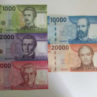 Chile unc banknotes