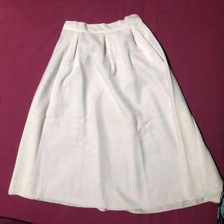 Midi Circular White Skirt