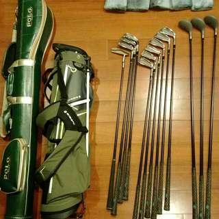 登祿普Dunlop 高爾夫球桿全套13枝桿+inesis球桿三角袋+polo槍桿包