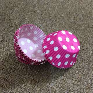 (24pcs) 3oz Pink Polkadot Paper Cupcake Cups