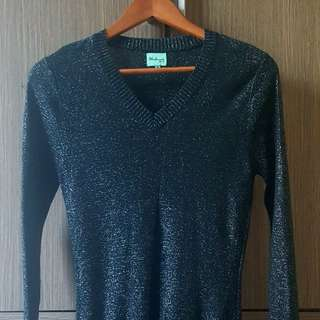 Herbench Black Glittery Knitted Pullover