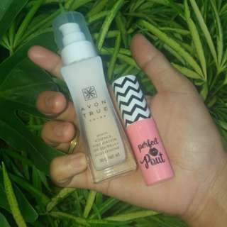 ❤AVON PRODUCT❤ WHITE ESSENCE FOUNDATION and SNOW PINK MAGIC LIPSTICK