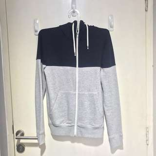 Jaket Hoodie H&M abu abu navy zipper ORIGINAL