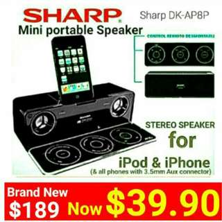 SHARP Portable Speaker  with 2:1 channel HDSS &  Sub-woofer + Stylish PANEL Remote with built-in phone/ipod Dock (Also compatible with any phone With 3.5mm aux.  Model:DK-AP8P. Usual Price $189 Sale Price: $39.90.