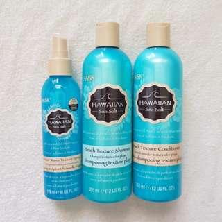 Hask Hawaiian Sea Salt Shampoo, Conditioner, Makin' Waves Texture Spray