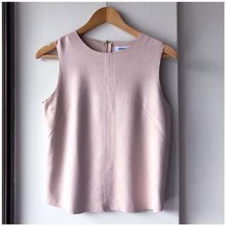 The Editor's Market TEM baby pink mock suede top