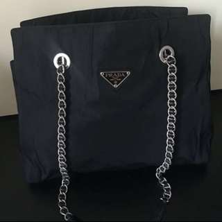 Prada Silver Chain Big Size Shopping Bag Backpack Wallet 背包