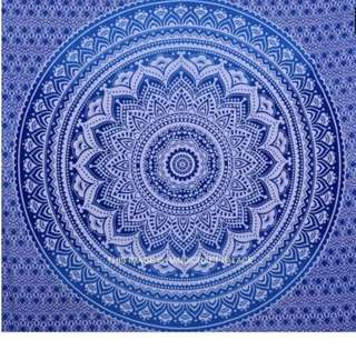 Bright Blue Flower Mandala Wall Hanging