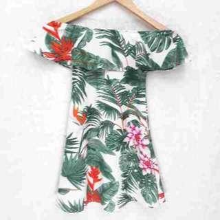 Hawaiian offshoulder kids dress