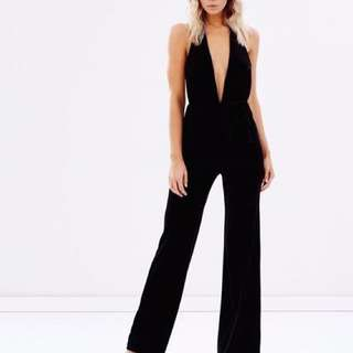 RENT: BEC AND BRIDGE Midnight Sage Velvet Jumpsuit