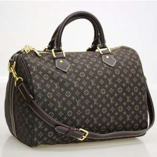 *Mark Down*Auth Louis Vuitton Idylle Fusain Speedy 30 Bandouliere W/Strap