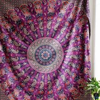 Pink & Purple Feathered Wall Hanging