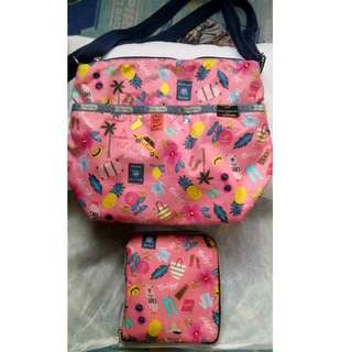 """lesportsac (authentic) 10x12"""" SLING BAG WITH  NEW ECO BAG SAME DESIGN"""